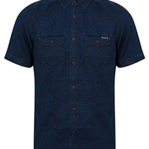 Mens Tokyo Laundry Denim Shirt Short Sleeve Cotton Button Shirt Western Style
