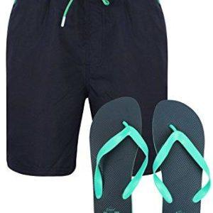 Mens South Shore Lined Swim Shorts Surf Board Beach Trunks Free Flip Flops