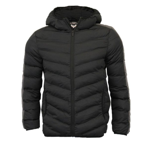 Brave Soul Mens Retro Hooded Quilted Padded Winter Puffer Bubble Jacket Coat