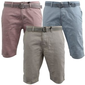 Men Belted Chino Shorts Cotton Light Above Knee Summer Loyalty & Faith
