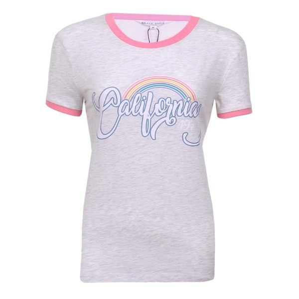 Ladies Cotton Rich Printed Casual Crew Neck T-shirt by Brave Soul