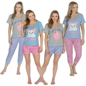 Ladies Forever Dreaming Cotton Rich Pjs Pyjama Sets Pug Cake Prints