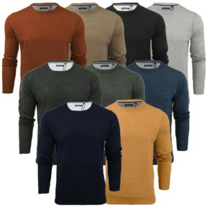 Mens Parsec Crew Neck Knitted Jumper Sweater Top S to 5XL By Brave Soul