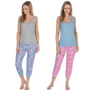 Ladies Forever Dreaming Cotton Vest Top Pyjama Sets Unicorn Print Bottoms
