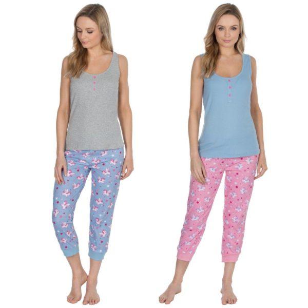 Ladies Forever Dreaming Cotton Vest Top Pyjama Sets Unicorn Print Bottoms
