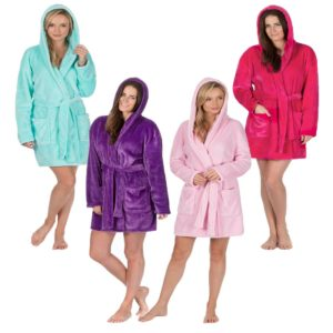 Ladies Forever Dreaming Hooded Dressing Gown Above Knee Snuggle Top