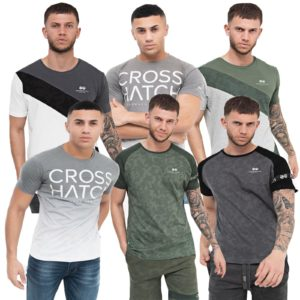 Mens T-Shirt Printed Designer Casual Muscle Gym Top Croshatch