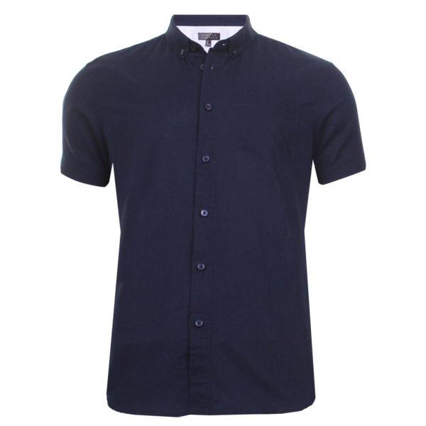 Men Short Sleeve Shirt Linen Cotton Casual Work Shirt Broken Standard 2XL XL L