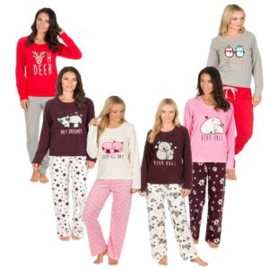 Ladies Forever Dreaming Novelty Soft Warm Micro Fleece PJ Animal Pyjama Twosie