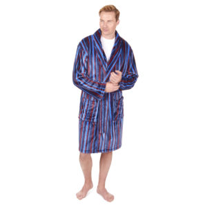 Pierre Roche Mens Stripe Shawl Collar or Hooded Flannel Dressing Gown