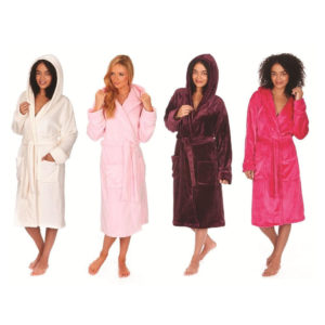 Ladies Forever Dreaming Super Soft Hooded Flannel Fleece Dressing Gown Robe