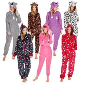 Ladies Womens Hooded Onezee Snuggle Fleece Sleepsuit Pjs All In One