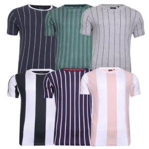 Men's Brave Soul Stripe All Over Print Crew Neck Casual Top