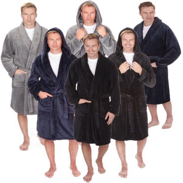 Men's Pierre Roche Luxury Flannel Fleece Soft Bath Spa Robe Dressing Gown