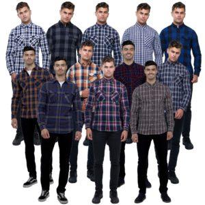 Mens Work Shirt Check Lumberjack Brushed Cotton by Brave Soul Broken Standard