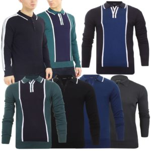 Mens Brave Soul Long Sleeve Polo Placket Knitted Polo Shirt Collared Jumper Top