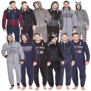 Mens Cargo Bay Onezee Nightwear Sherpa Fleece Hooded All In One Collection