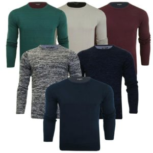 Mens Jumper Long Sleeve Light Knit Crew Neck Sweater Jersey Brave Soul XL L M S