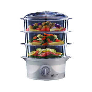 3-Tier 9 Litre Food Vegetable Steamer Healthy 800W Russell Hobbs – White