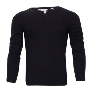 Men's Soul Star Long Sleeve Cotton Rich Grandad Collar Slub Jersey Casual Top
