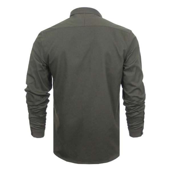 Gray 69 Mens long sleeve twill cotton shirt button down collar eagle chest embroidery