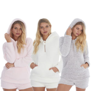 Ladies Shorts and Hooded Jumper Soft Borg Sherpa Comfy Lounge PJs Set