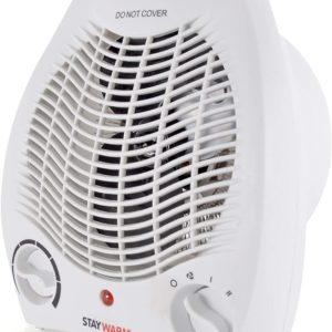 STAYWARM 2000w Upright Fan Blower Heater with 2 Heat Settings F2001WH – White