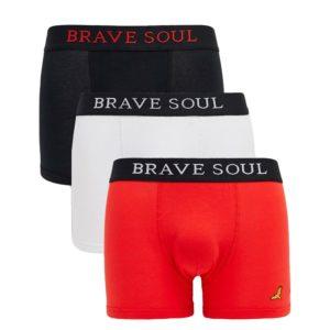 Men's Boxer Shorts 3 Pack Multi Colours Underwear Jersey Shorts Brave Soul Red White Black
