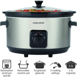 Morphy Richards 461013 Slow Cooker 6.5 Litres 290 Watt Brushed Stainless Steel