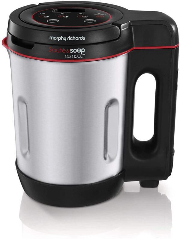 Morphy Richards 501027 Compact Saute & Soup Maker, Stainless Steel, 900 W, 1L, Brushed Aluminium and Black