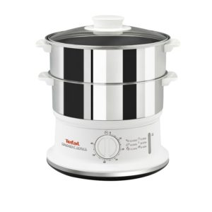 Tefal VC145140 Convenient Series Electric Food Steamer 2  Stainless Steel Bowls – White
