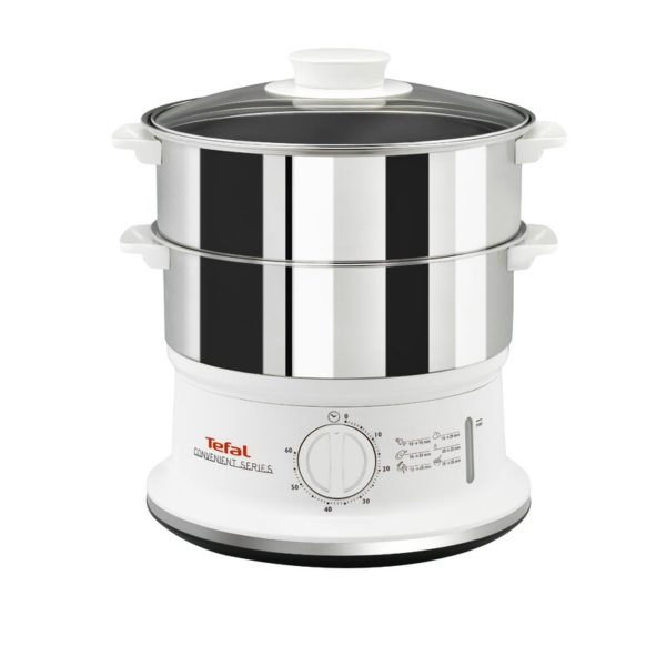 Tefal VC145140 Convenient Series Electric Food Steamer 2 Stainless Steel Bowls - White